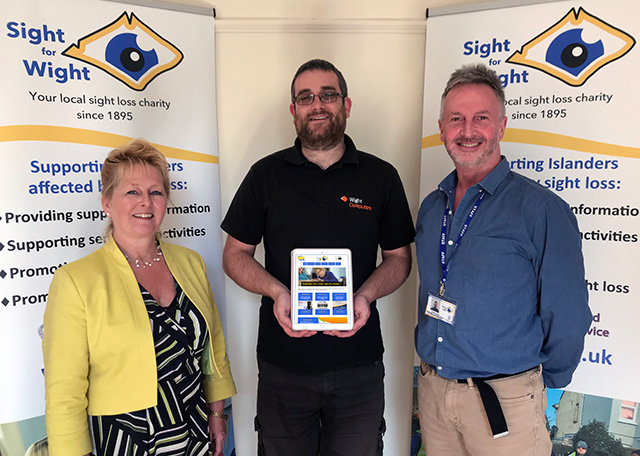 (L to R) Miriam Tong, CEO Sight for Wight, John Collingwood, Wight Computers, Chris Cane, Marketing, Communications and Fundraising Manager Sight for Wight